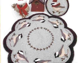 Candle Mat Kit, Penny Rug Kit, Wool Felt Kit, Chickadees Candle Mat Kit, Prim Wool Felt Kit, Merino Wool Candle Mat Kit, Cheerful Chickadees
