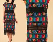ViNtAgE 60's 70's Huipil Mexican HandWoven Fringe Caftan Black Rainbow Gauze Cotton Gauzy HiPPiE Gypsy Maxi Dress Small Medium S / M