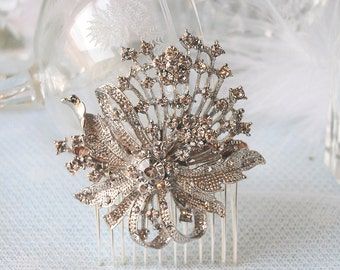 TRUE ROMANCE Vintage Rhinestone Bridal Wedding Hair Comb
