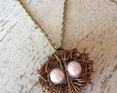 Two 2 Egg Custom Vintage Style Wire Wrapped Bird Nest Antique Silver Brass Egg Pendant Necklace New Mom Mother's Day CHOOSE YOUR COLOR