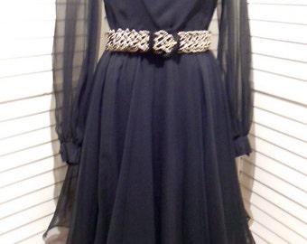 1950s Vintage Dress Absolutely Fabulous  Little Black Dress by Miss Elliette California Flutter Skirt Sheer Sleeves 34 B 26 W