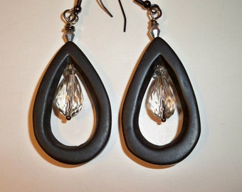 Black Dangle Earrings with Crystal Bead Drops in the Center and on Top of Black Glass Teardrop Beads