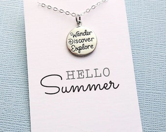 Graduation Gift | Summer Charm Necklace | Pendant Necklace | Summer Motto Necklace | Wanderlust | Layering Necklace | Sterling Silver | X15