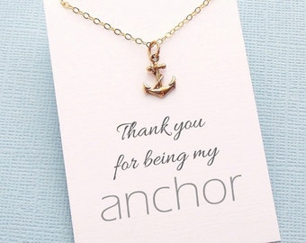 Friendship Necklace | Anchor Charm Necklace | Thank You for Being My Anchor | Best Friend Gift | Silver or Gold | X09