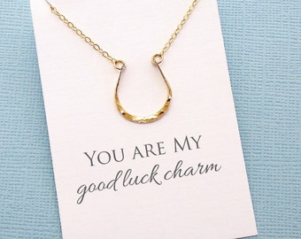 Horseshoe Necklace | Valentines Gift | Valentine | Equestrian Necklace | Good Luck Charm | Sentiment Card | Silver, Gold or Rose Gold | L09