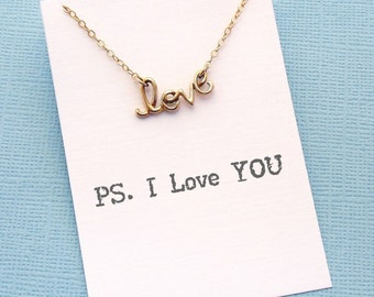 Gift for Her | Cursive LOVE Necklace, Dainty Necklace, Birthday Gift, Layered Necklace, Layering Necklace, Cursive, Boho, Silver, Gold | L05