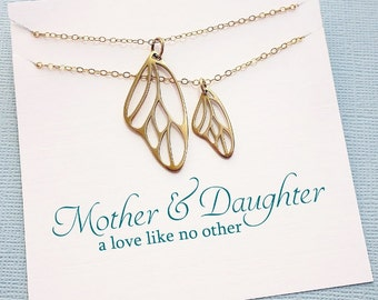 Mother Daughter Necklace Set | Butterfly Wing Necklace, Mother Daughter Jewelry Set, Gifts for Mom, Daughter Gift, Botanical Jewelry | MD04
