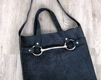 Equestrian Horse Bit Tote Bag in Bull Hide Leather by Stacy Leigh