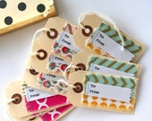fabric scrap sewn to from gift tags, stitched fabric scrap gift tags, manilla boho urban fabric gift tags,  scrapbook fabric chevron tags