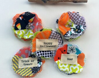 Scrap fabric flowers, Halloween flower embellishments, Halloween fabric flower, Halloween fall scrapbook flowers, appliques, Set of 5 -No. 3