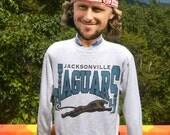 vintage 90s sweatshirt jacksonville JAGUARS nfl football gray Large Medium crew neck