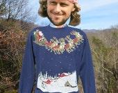 vintage 80s sweatshirt CHRISTMAS glitter crazy xmas snowflake santa reindeer crew neck sweater Medium Large blue