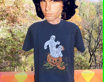 vintage 80s t-shirt HALLOWEEN pumpkin black orange glitter ghost tee shirt XL Large screen stars