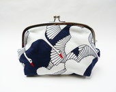 Cosmetic bag, blue and white Japanese stork design, cotton pouch