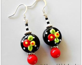 Fried Egg Poppy Flower Earrings - Flower Earrings - Lampwork Glass Earrings - Beaded Earrings - Floral Earrings - Cherry Chick