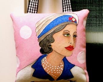 COCO HANGING PILLOW, Hand Painted Pillow, Gift For Fashionista, Fashion Pillow, Chanel, stocking stuffer, soft pink, rhinestones, Paris icon
