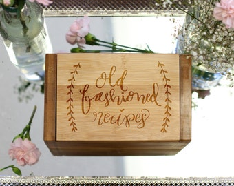 Personalized Recipe Box & Dividers, Recipe Box Cards, Engraved Recipe Box Mom Grandma Foodie Housewarming Gift, Bamboo Wood --28537-RB01-001