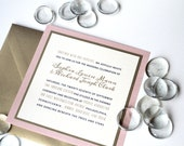 Modern Wedding Square Invitation, Custom Invites, Rose Quartz and Gold, Gold and Navy, Stationery and Party, Weddings