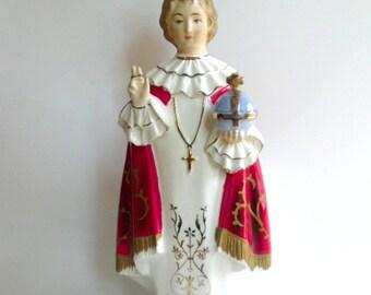 Vintage Infant of Prague Planter, Child Jesus Figure, Porcelain Religious Statue,