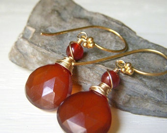 Dark Brown Chalcedony Earrings Goldfilled, Amber Honey Earrings, Handmade Earrings, Briolette Gemstone Dangle Goldfill