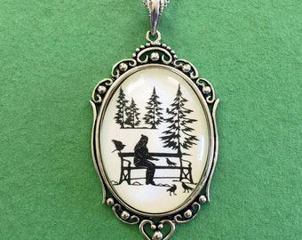 Sale 20% Off // WINTER AFTERNOON Necklace, pendant on chain - Silhouette Jewelry // Coupon Code SALE20
