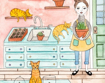 CAT Art Terrarium Cats in the Garden Room Original Cat Folk Art Watercolor Painting