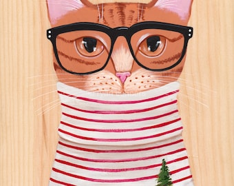 Minimalist Christmas Cat - Original Folk Art Painting