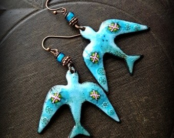 Enameled Charms, Rustic, Enameled Earrings, Glass, Bird Earrings, Doves, Flowers, Organic, Primitive, Bird Beaded Earrings