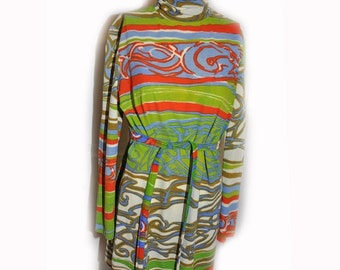 Vintage 1960s Mod Print Mini Dress Tunic