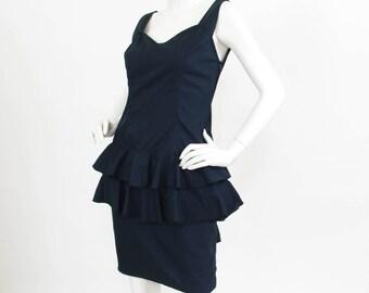 Byblos Italy 1980's Vintage Black Cotton Low Back Ruffle Mini Dress Sz S