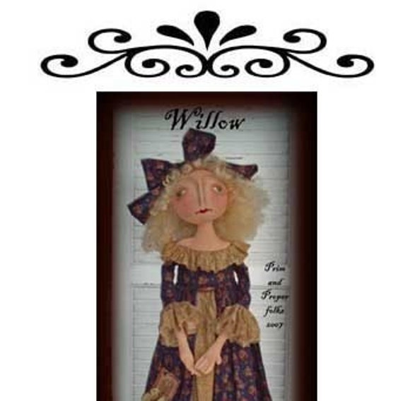 Primitive Folk Art Romantic Doll - Willow - Mailed Pattern