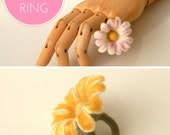 DIY - PDF workshop seamless felted flower ring - Daisy ring - Intermediate level - 1 PDF - Instant download