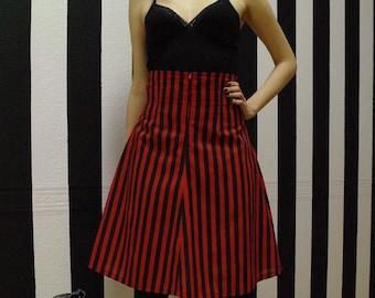 Black and red stripes skirt, high waist skirt, stripes skirt, red skirt, black skirt, Harley quinn inspired skirt, Cosplay skirt, MASQ skirt