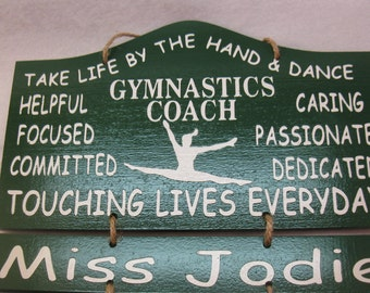 Painted Personalized WoodenTap Gymnastics Teacher Wall Hanging