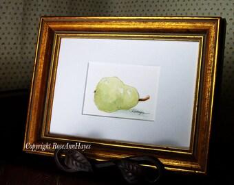 Original Watercolor Painting Pear Garden Fruit Veggie Still Life ACEO Kitchen Art
