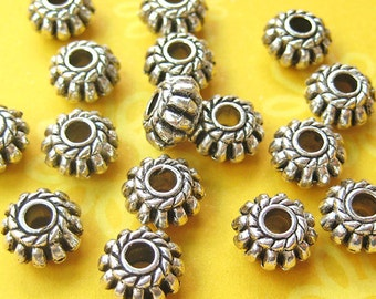 10 Rondelle Beads, Ribbed, Bali Style, Silver Plated, 4mm x 8mm - TS957B
