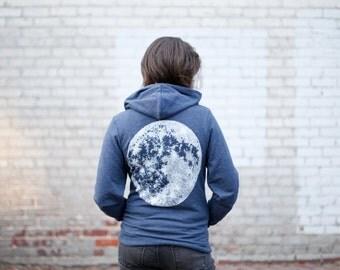 Mens Zip Up Hoodie, Moon Sweatshirt, His or Hers Hoodie, Unisex Sweatshirt, Moon Hoodie, Men or Women, Blue Hooded Sweatshirt, Gift for Men
