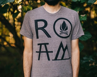 ROAM mens graphic tee, t shirt men, mens tshirts, camping print on heather brown, wanderlust shirt for him, gift for travelers