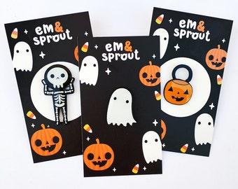 Halloween Enamel Pin - Skeleton Pumpkin Pail Ghost - YOUR CHOICE - glow in the dark