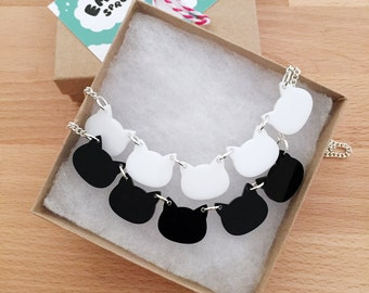 Cat Bib Collar Necklace - Acrylic Black and White Cats with Chain