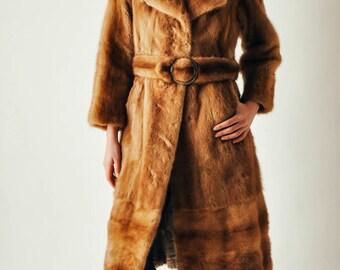 Vintage Belted Honey Mink Fur Coat