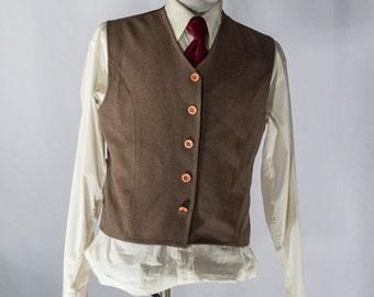 Men's Suit Vest / Vintage Brown Waistcoat / Size 40 / medium #2076
