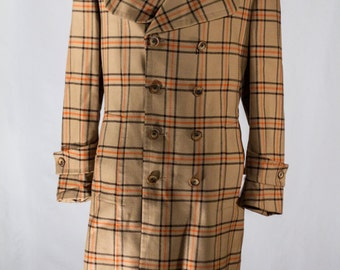 Men's Overcoat / Vintage Jacques Dupre / Tan Beige Jacket / Size 44 X-Long #2202