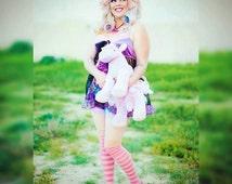 Galaxy dress, babydoll lingerie sheer nightie fairy kei milky stars size XL extra large