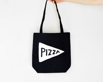 Pizza Tote Bag, black canvas typography gift for teen pizza party tumblr made in usa pizza gift for her gift for teacher