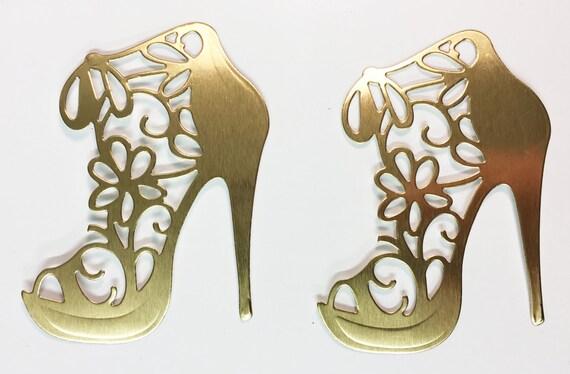 Flower Lace High Heel Gold Metallic Foil Die Cut 10 Pieces Elegant Feminine Embellishment Scrapbook Greeting Card Art Craft Mixed Media