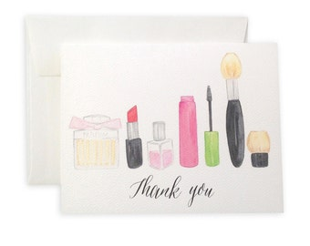 Make-up Thank You Notecard Set // Custom Available