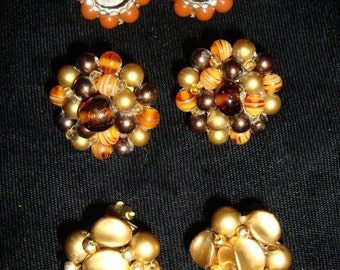 60's Fall Color Clip Earrings