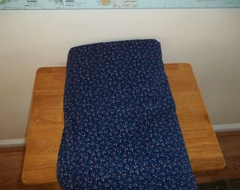 Blue Calico Cotton fabric white sprigs on navy blue 4 yards