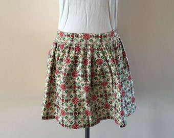 Vintage 1950s Half Apron red and green print fabric
